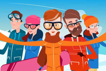 People Group With Ski Snowboard Take Selfie Photo Winter Activity Sport Vacation Flat Vector Illustration Illustration