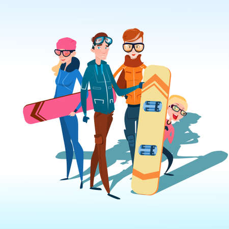 slope: People Group With Ski Snowboard Winter Activity Sport Vacation Snow Mountain Slope Flat Vector Illustration