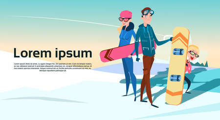 slope: People Group With Snowboard Winter Activity Sport Vacation Snow Mountain Slope Flat Vector Illustration Illustration