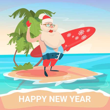 Santa Claus On New Year Christmas Vacation Holiday Tropical Ocean Island Flat Vector Illustration