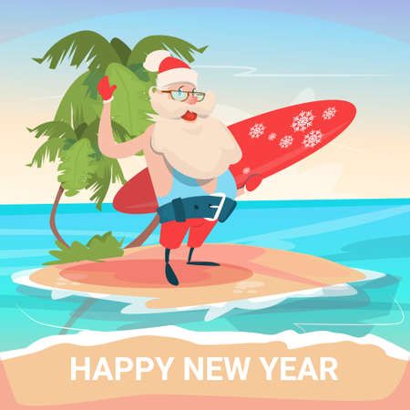 Santa Claus On New Year Christmas Vacation Holiday Tropical Ocean Island Flat Vector Illustration