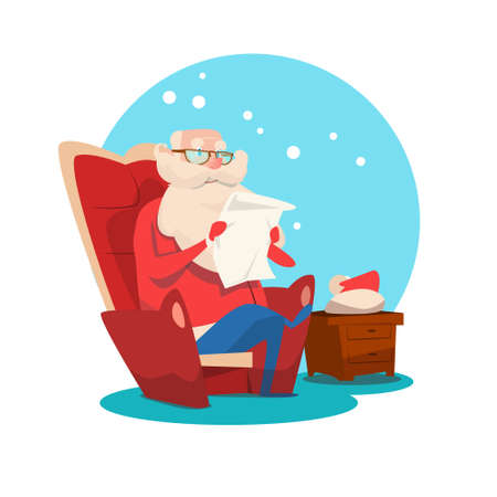 Santa Claus Read Merry Christmas Wish List New Year Celebration Flat Vector Illustration Illustration