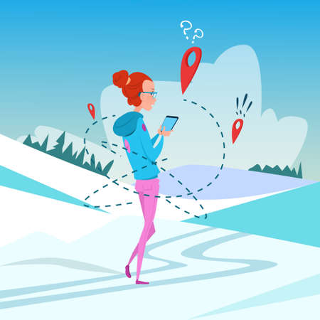 smart woman: Woman Use Cell Smart Phone Gps Navigation Winter Vacation Snow Mountain Background Flat Vector Illustration