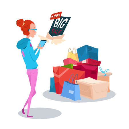 cyber girl: Girl Hold Cell Smart Phone Big Sale Online Shopping Flat Vector Illustration