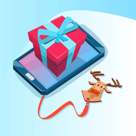 holiday shopping: Cell Smart Phone With Present Box Big Holiday Sale Online Shopping Flat Vector Illustration