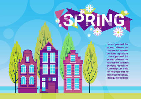 green grass and blue sky: Village Spring Landscape Houses Green Grass Blue Sky Banner With Copy Space Flat Vector Illustration