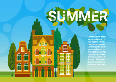 green grass and blue sky: Village Summer Landscape Houses Green Grass Blue Sky Banner With Copy Space Flat Vector Illustration Illustration