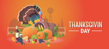 garnished: Thanksgiving Day Holiday Banner Fresh Vegetables Food Wine Fruit Set With Turkey Flat Vector Illustration
