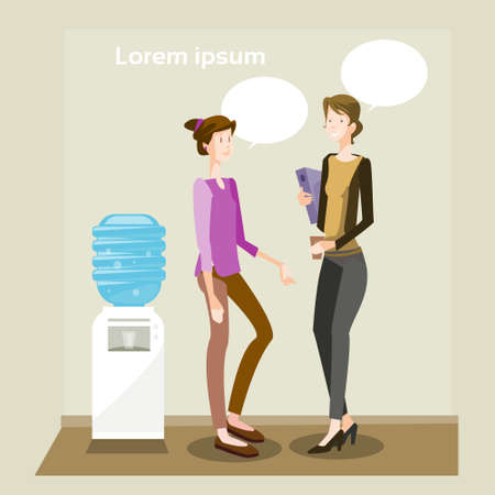 colleague: Business Women Speaking Two Colleague Communication Office Interior Flat Vector Illustration Illustration
