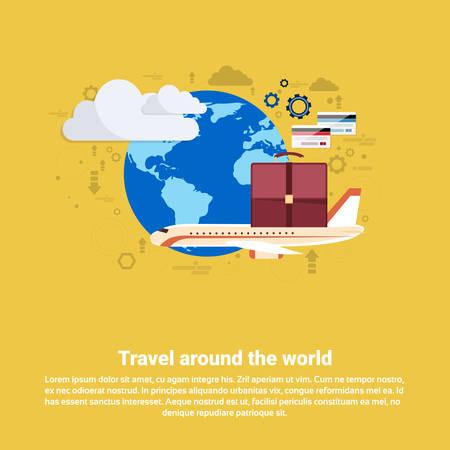 departure board: Around World Travel Tourism Web Banner Flat Vector Illustration