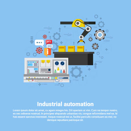 steel mill: Industrial Automation Industry Production Web Banner Flat Vector Illustration