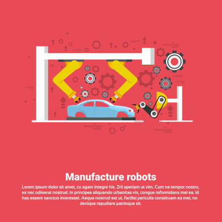 machining: Manufacture Robots Industrial Automation Production Web Banner Flat Vector Illustration