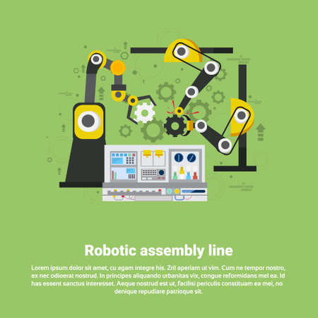 assembly line: Robotic Assembly Line Industrial Automation Industry Production Web Banner Flat Vector Illustration