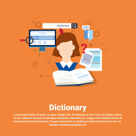 lexicon: Dictionary Vocabulary Technology Translation Tool Web Banner Flat Vector Illustration