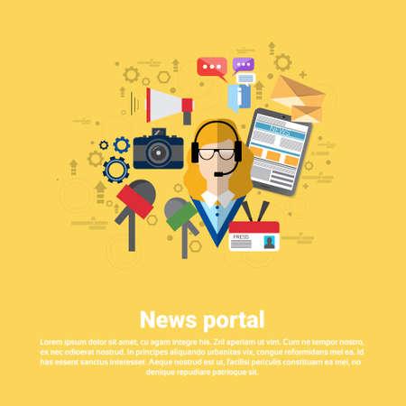 web portal: News Internet Portal Application Web Banner Flat Vector Illustration