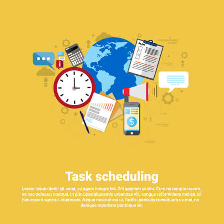 scheduling: Time Management Scheduling Business Web Banner Flat Vector illustration