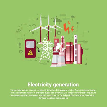 electricity generation: Electricity Generation Station Industry Web Banner Flat Vector illustration