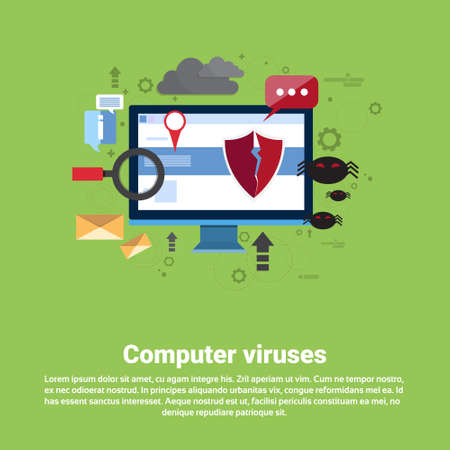 Computer Viruses Data Protection Privacy Internet Information Security Web Banner Flat Vector illustration Illustration