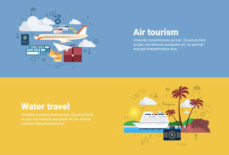 air liner: Airplane Transportation Air Tourism, Water Travel Cruise Tourism Web Banner Flat Vector Illustration