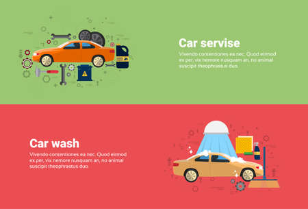 Car Wash Service Auto Business Web Banner Flat Vector Illustration Illustration