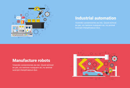 industrial robots: Manufacture Robots Industrial Automation Production Web Banner Flat Vector Illustration