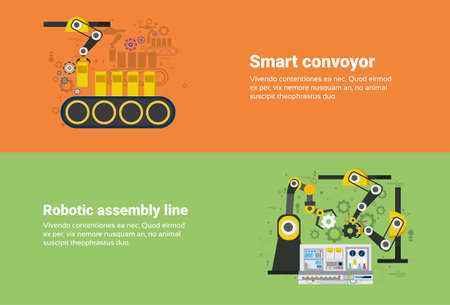 assembly line: Smart Conveyor, Robotic Assembly Line Industrial Automation Industry Production Web Banner Flat Vector Illustration