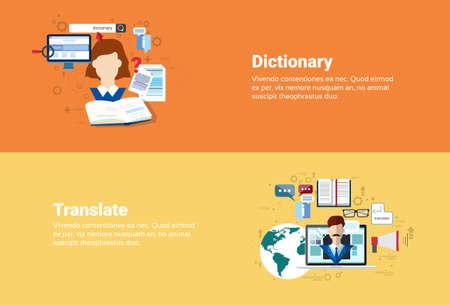 translate: Translate Dictionary Vocabulary Technology Translation Tool Web Banner Flat Vector Illustration