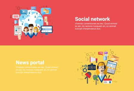 web portal: Social Media Network Internet Connection Communication, News Portal Application Web Banner Flat Vector Illustration