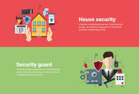 guard house: Guard Home Security Protection Insurance Web Banner Flat Vector Illustration