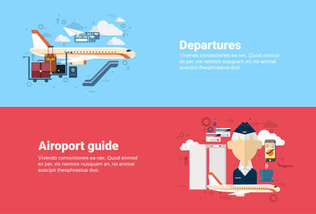 Airport Guide Departure Airplane Transportation Air Tourism Web Banner Flat Vector Illustration