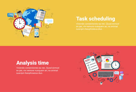 scheduling: Financial Analysis Time Management Scheduling Business Web Banner Flat Vector illustration Illustration