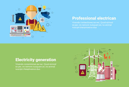 electricity generation: Professional Electrican Electricity Generation Station Industry Web Banner Flat Vector illustration Illustration