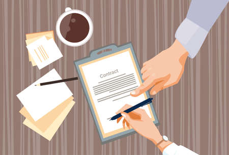 signature: Contract Sign Up Paper Document Business People Agreement Pen Signature Office Desk Flat Vector Illustration