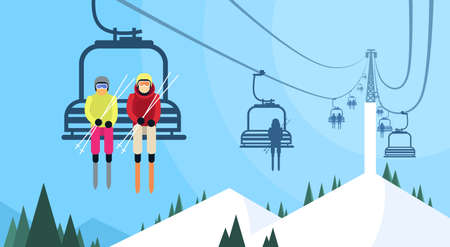 People Skier On Cable Car Transportation Rope Way Over Mountain Hill Flat Vector Illustration