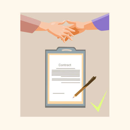 hands up: Handshake Businessman Contract Sign Up Paper Document, Business Man Hands Shake Pen Signature Flat Vector Illustration Illustration