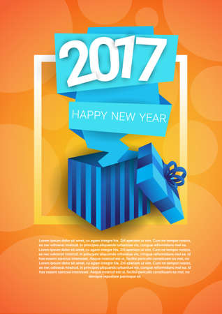 happy new year banner: Happy New Year Banner Present Box Merry Christmas Greeting Card With Copy Space Flat Vector Illustration