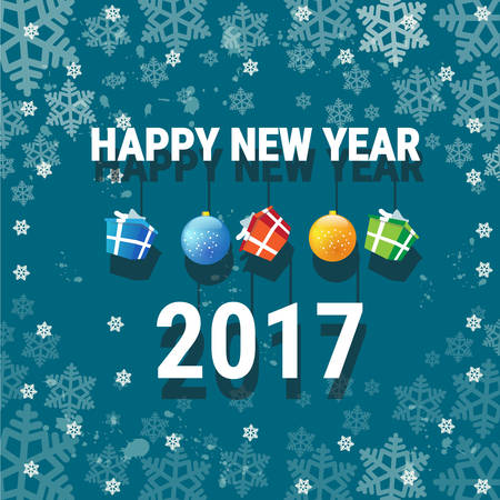 happy new year banner: Happy New Year Banner Christmas Decorations Greeting Card With Copy Space Flat Vector Illustration