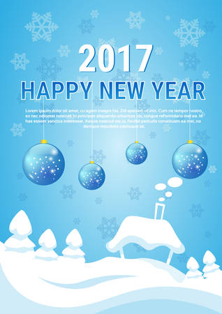 house of santa clause: White House Village Merry Christmas New Year Banner Greeting Card Flat Vector Illustration