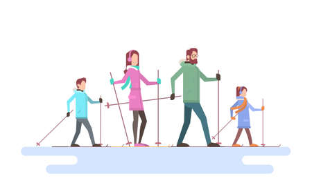 family holiday: Big Family Skiing Winter Holiday Vacation Snow Sport Flat Vector Illustration