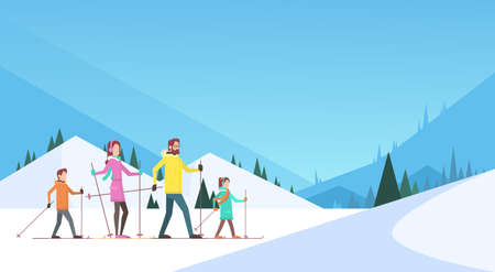 family holiday: Big Family Skiing Winter Holiday Vacation Snow Sport Mountain Background Flat Vector Illustration Illustration