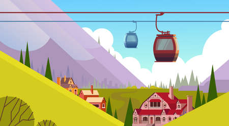 Cable Car Transportation Rope Way Over Mountain Hill Village Background Flat Vector Illustration