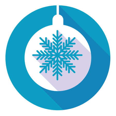crystal button: Snowflake White Flat Icon Over Blue Winter Background Vector Illustration Illustration