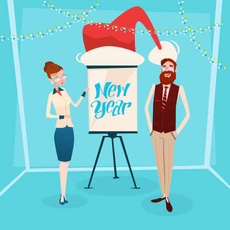 Business Woman And Man With Flip Chart Santa Hat New Year Celebration Flat Vector Illustration Illustration