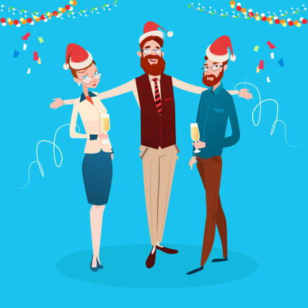 associates: Businesspeople Celebrate Merry Christmas And Happy New Year Office Business People Team Santa Hat Flat Vector Illustration