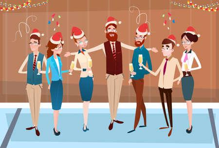 ビジネスマンがメリー クリスマスを祝う、新年あけましておめでとうございますにオフィスのビジネス人々 チーム サンタ帽子フラット ベクトル図