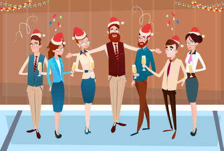 Vier ondernemers Vrolijke Kerstmis en Gelukkig Nieuwjaar Office Business Mensen Team Santa Hat Flat Vector Illustration