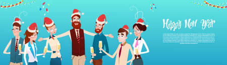 office team: Businesspeople Celebrate Merry Christmas And Happy New Year Office Business People Team Santa Hat Flat Vector Illustration