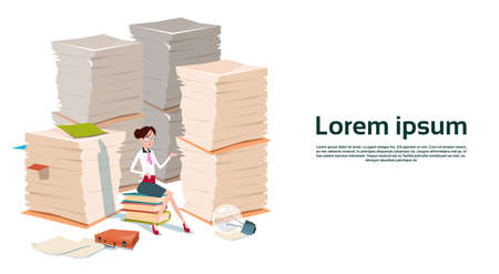 overload: Business Woman Sit On Books Stacked Paper Document Paperwork Flat Vector Illustration