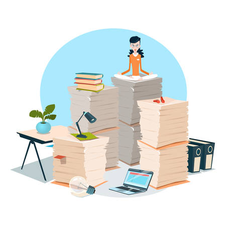overload: Business Woman Sit On Stacked Paper Document Paperwork Flat Vector Illustration
