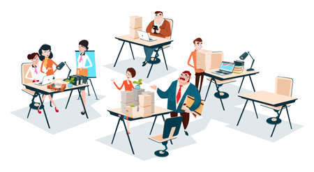 Business People Group Team Workplace Office Teamwork Flat Vector Illustration